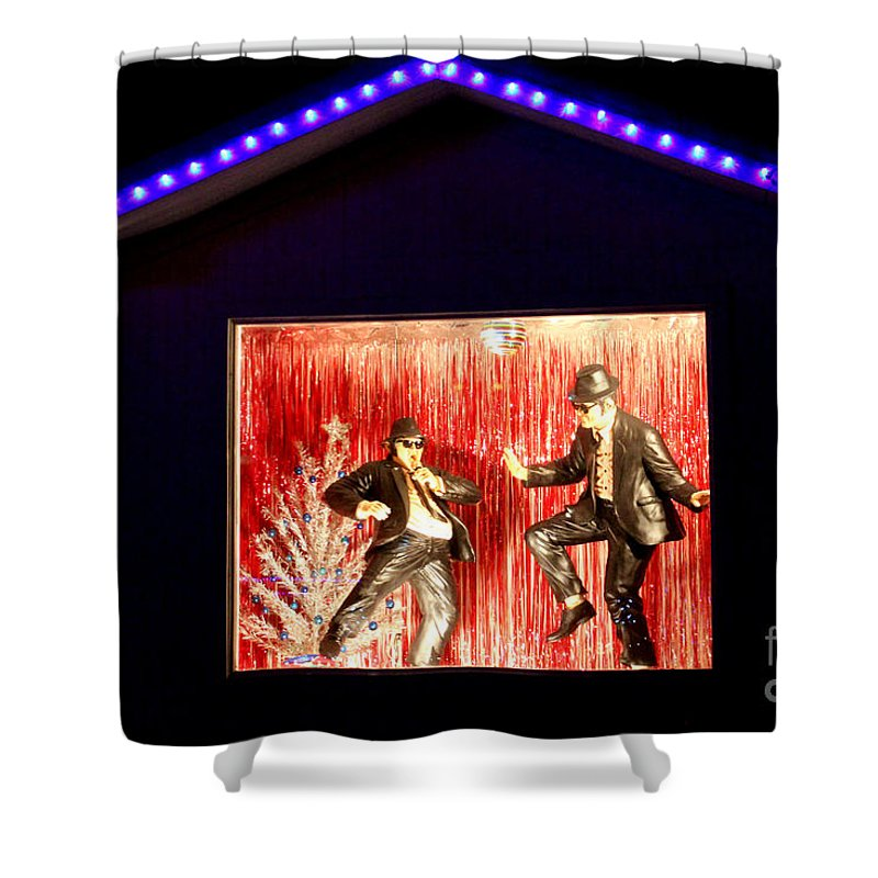 John Belushi Shower Curtain featuring the photograph Blues Brothers Tribute by Kathy White