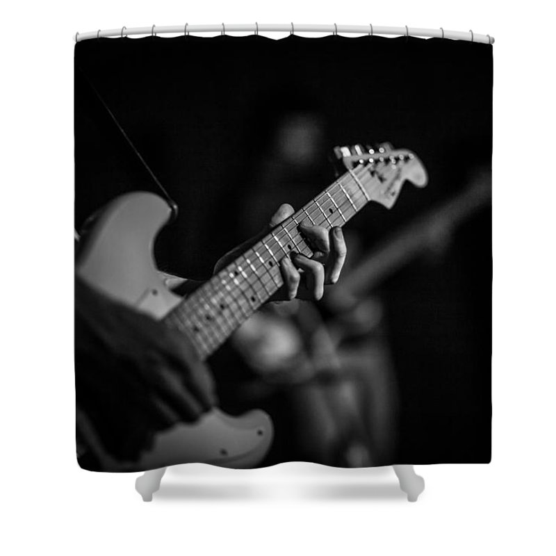 Fender Stratocaster Shower Curtain featuring the photograph Blues Chord by Ray Congrove