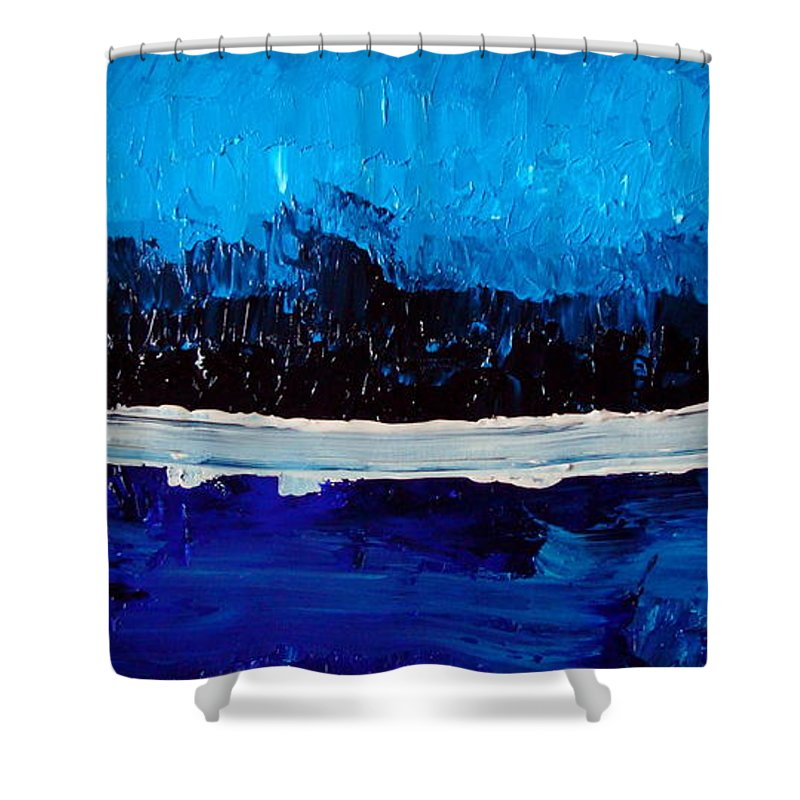 Blue Shower Curtain featuring the painting Blues by Holly Picano