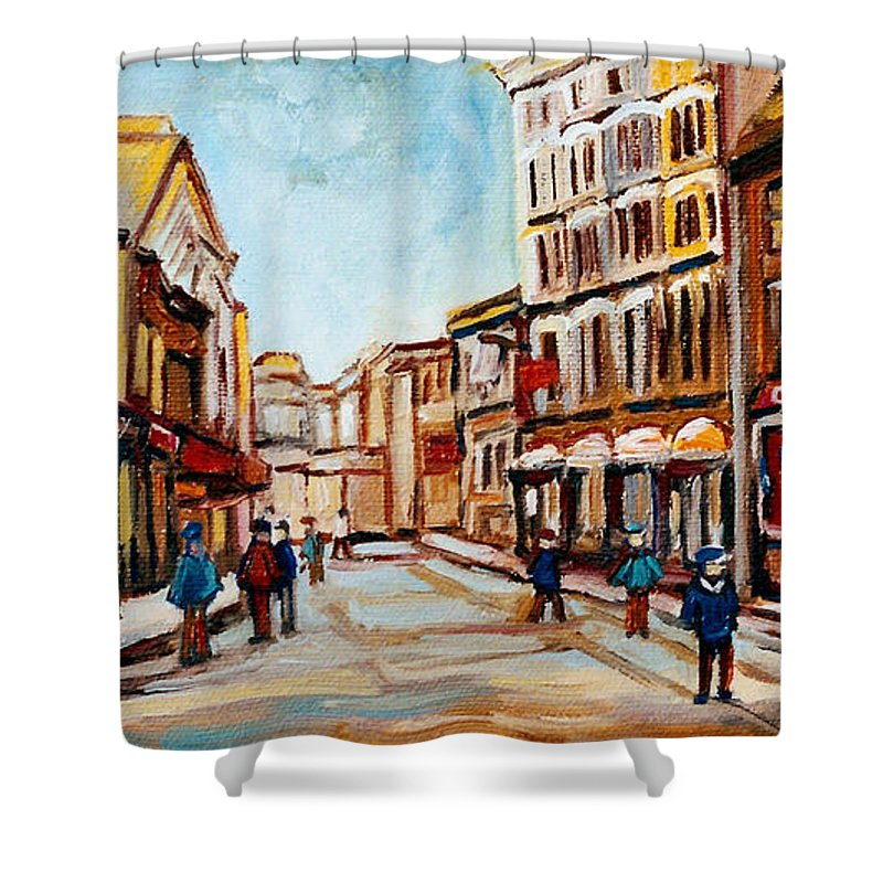 Montreal Shower Curtain featuring the painting Blumenthals On Craig Street by Carole Spandau