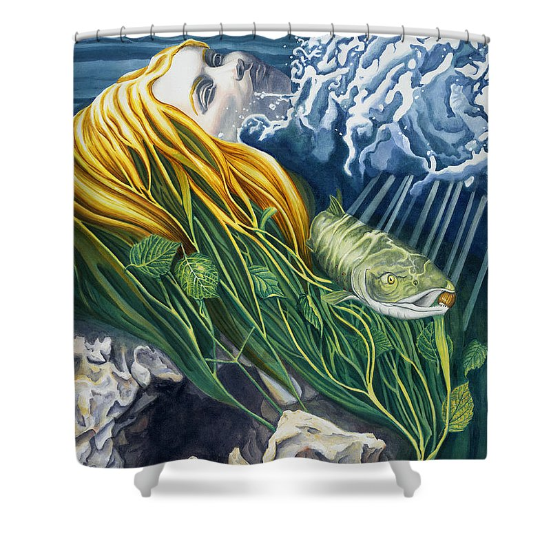 Boann Shower Curtain featuring the painting Boann Transformation Of A Goddess by Do'an Prajna - Antony Galbraith