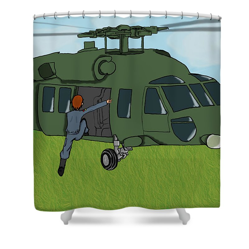 Helicopter Shower Curtain featuring the digital art Boarding A Helicopter by Yael Rosen
