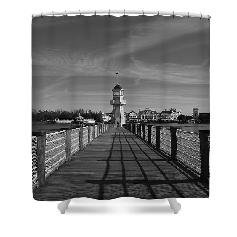Black And White Shower Curtain featuring the photograph Boardwalk Lighthouse 1 by Denise Mazzocco