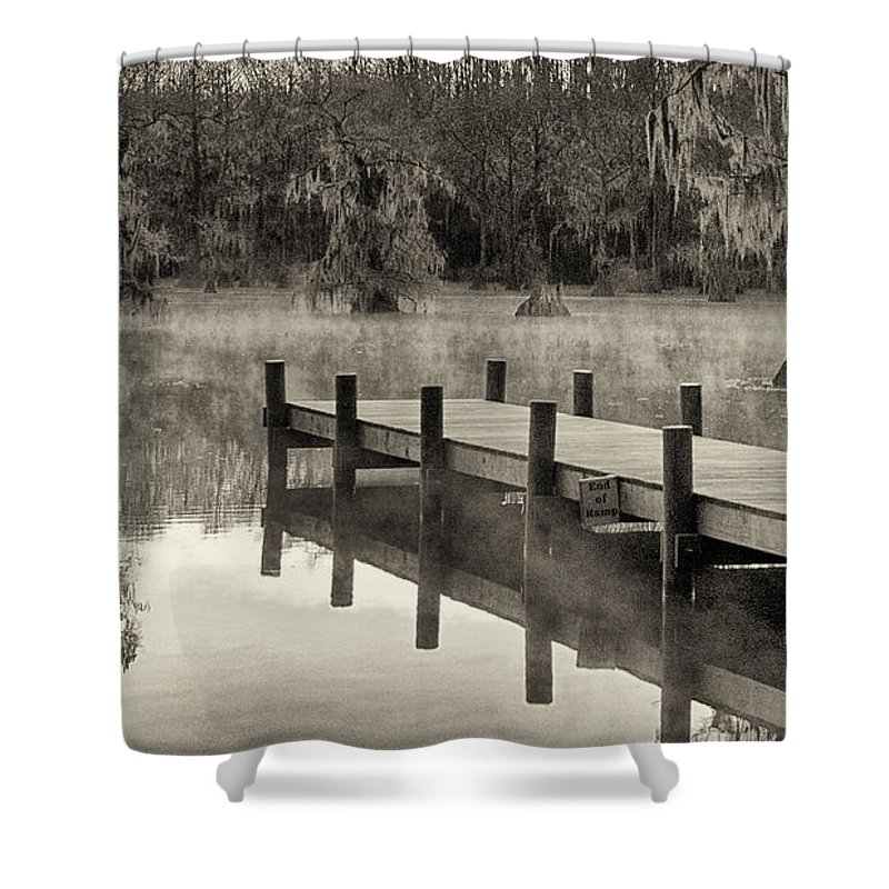 Caddo Lake Shower Curtain Featuring The Photograph Boat Dock By Mary Lee Dereske