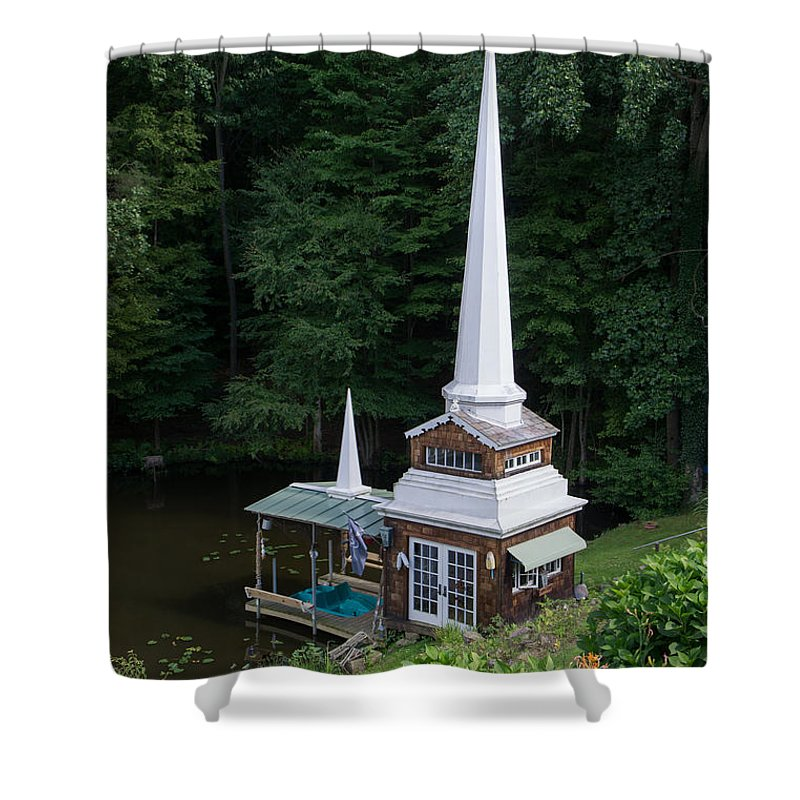 Boat Shower Curtain featuring the photograph Boat House by Diana Weir