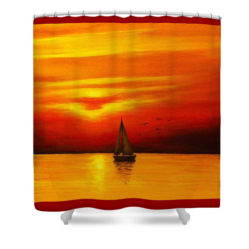 Seascape Shower Curtain featuring the painting Boat In The Sunset by Bozena Zajaczkowska