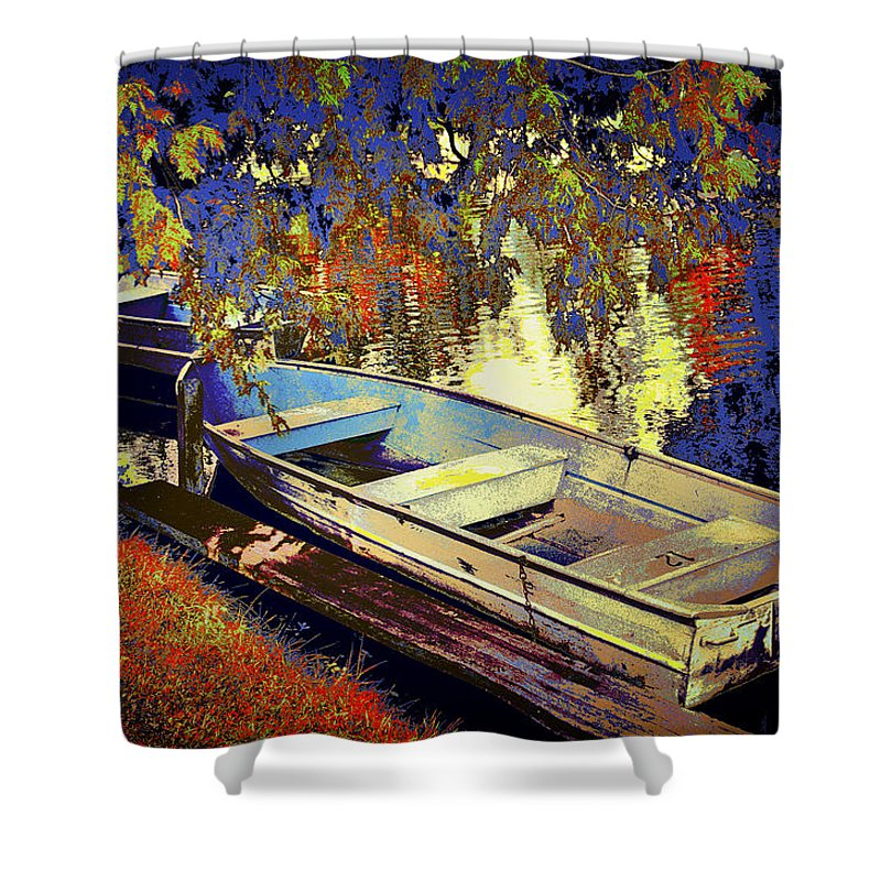 Art Shower Curtain featuring the photograph Boat Number 12 by Randall Nyhof