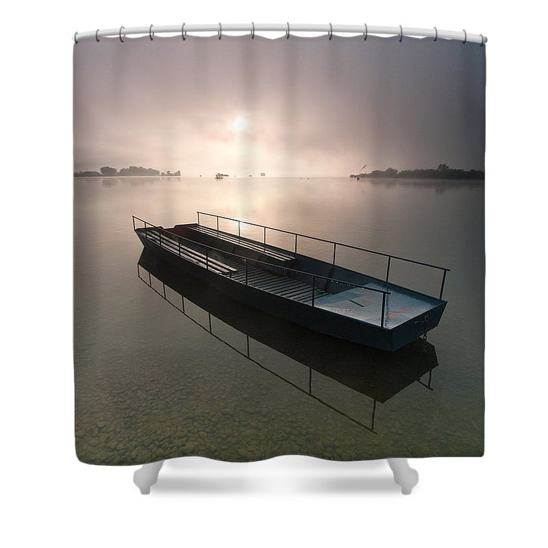 Landscapes Shower Curtain featuring the photograph Boat On Foggy Lake by Davorin Mance