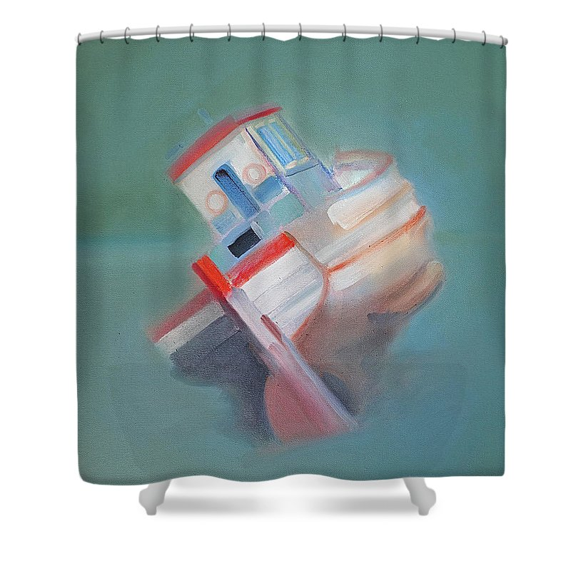 Fishing Boat Shower Curtain featuring the painting Boat Retired Tavira by Charles Stuart