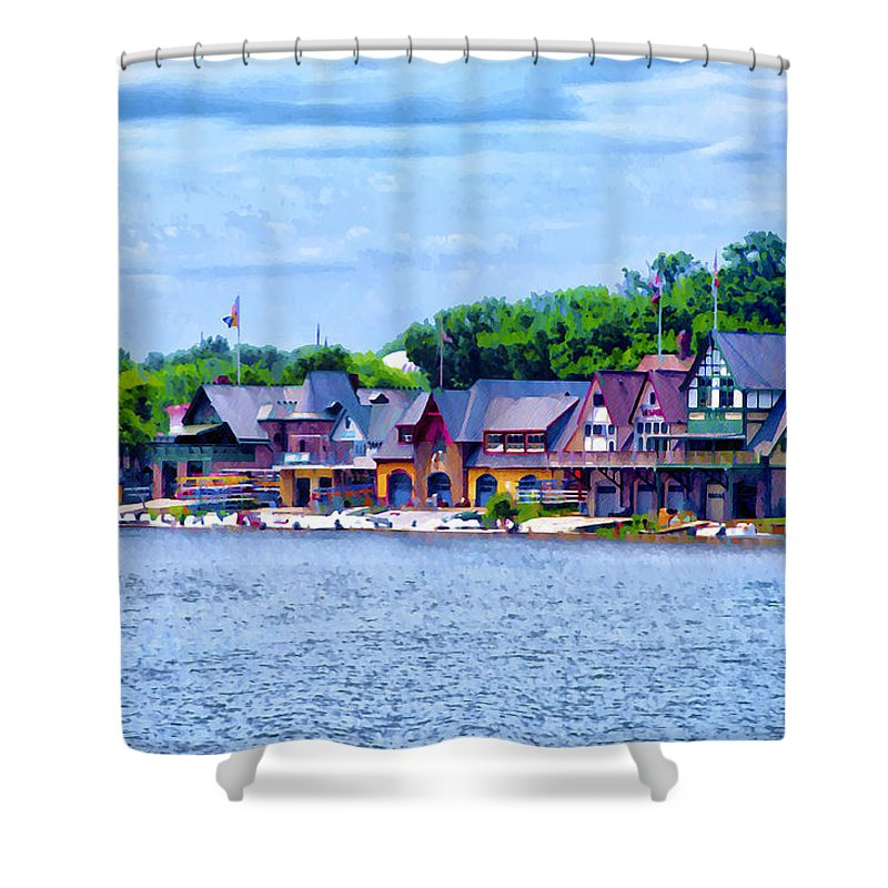 Boathouse Row Along The Schuylkill River Shower Curtain For Sale By Bill Cannon