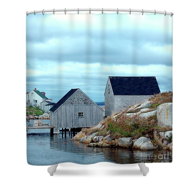 Blue Shower Curtain featuring the photograph Boathouses by Kathleen Struckle
