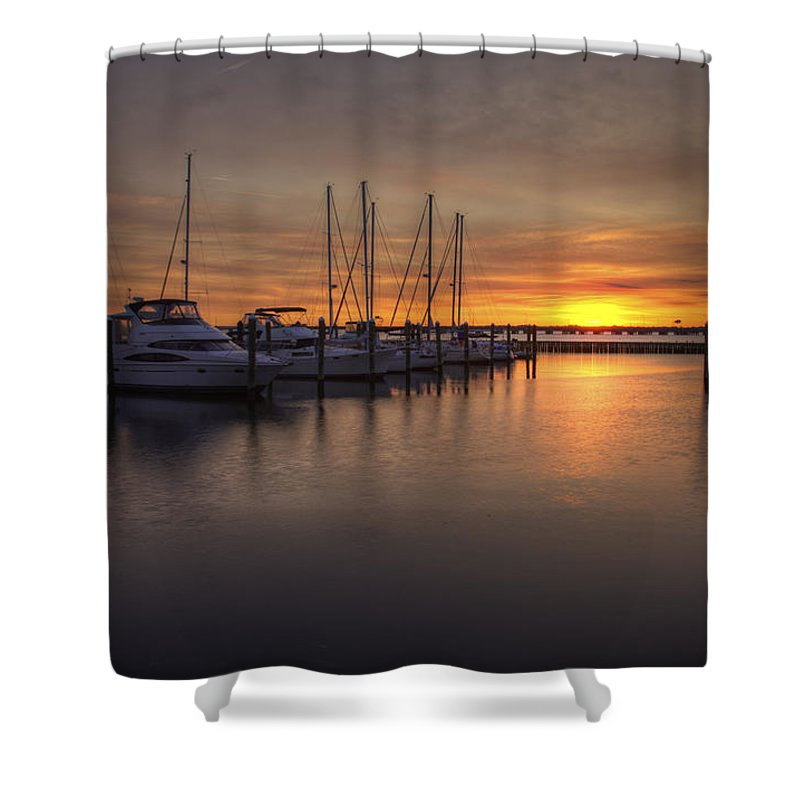 Boats Shower Curtain featuring the photograph Boats At Sunset by Amy Jackson