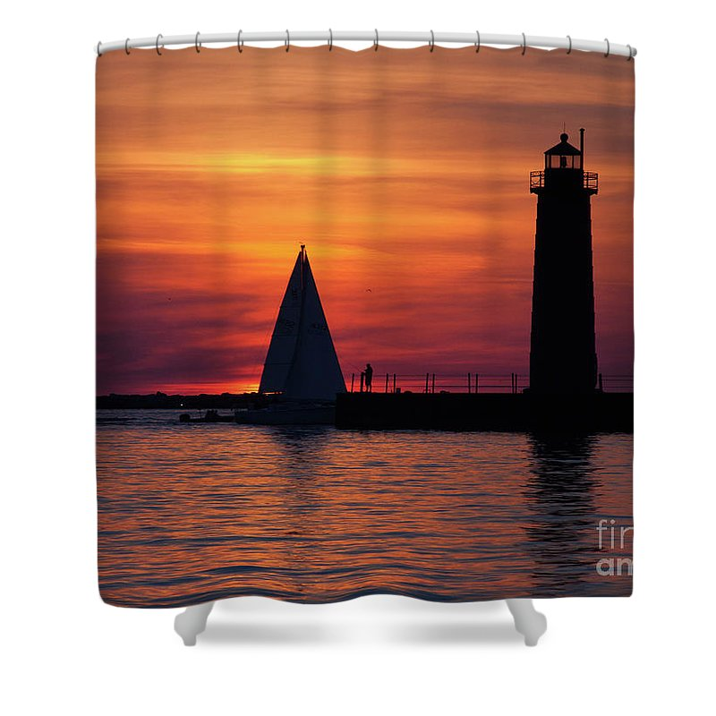 Nautical Shower Curtain featuring the photograph Boats Entering The Channel At The Muskegon Lighthouse by John Harmon