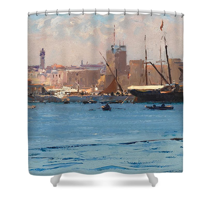Fausto Zonaro Shower Curtain featuring the painting Boats In A Port by Fausto Zonaro