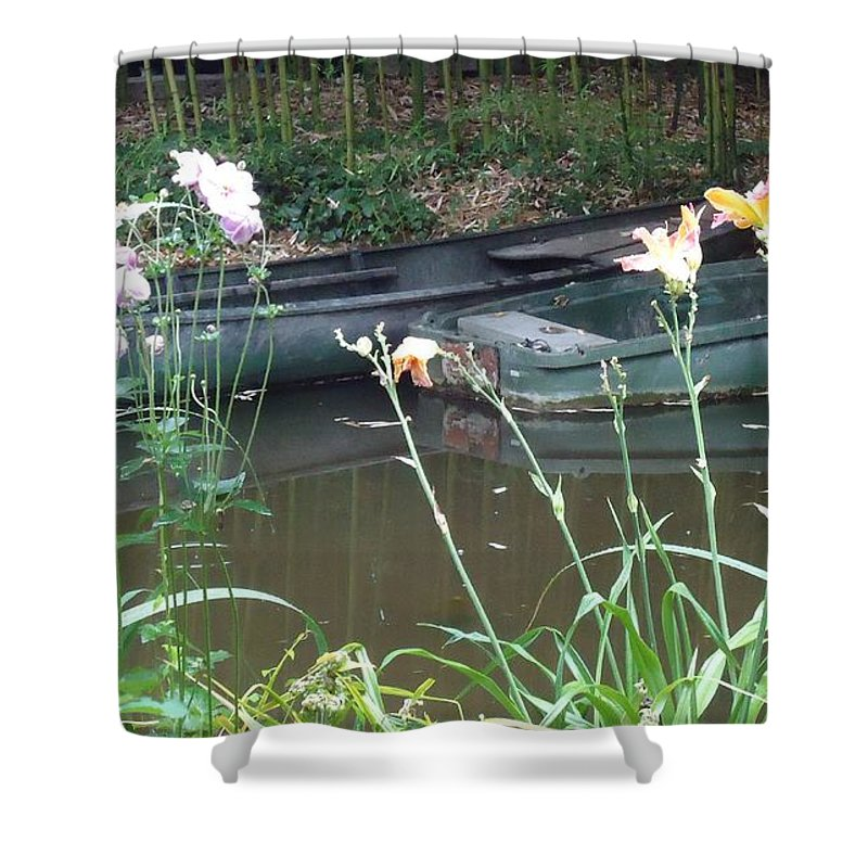 Giverny Shower Curtain featuring the photograph Boats In Giverny by Barbie Corbett-Newmin