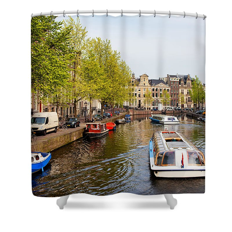 Amsterdam Shower Curtain featuring the photograph Boats On Canal Tour In Amsterdam by Artur Bogacki