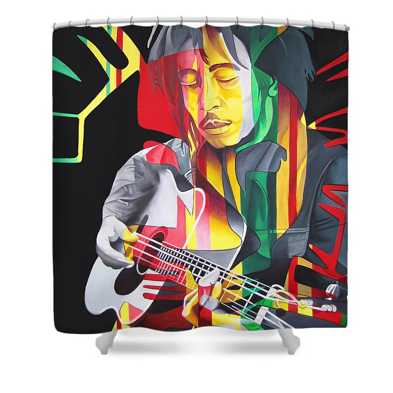 Bob Marley Shower Curtain featuring the painting Bob Marley And Rasta Lion by Joshua Morton