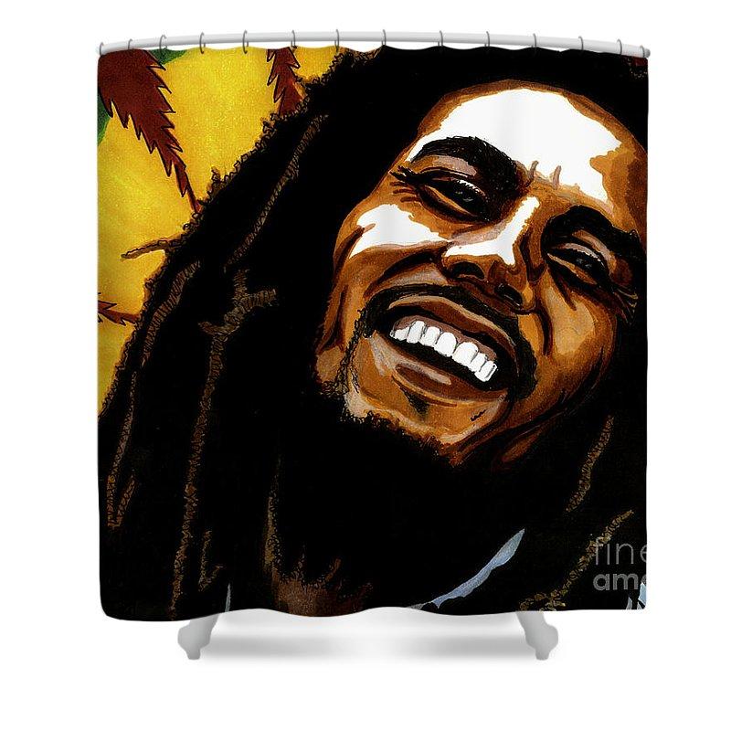 Bob Marley Shower Curtain featuring the drawing Bob Marley Rastafarian by Cory Still