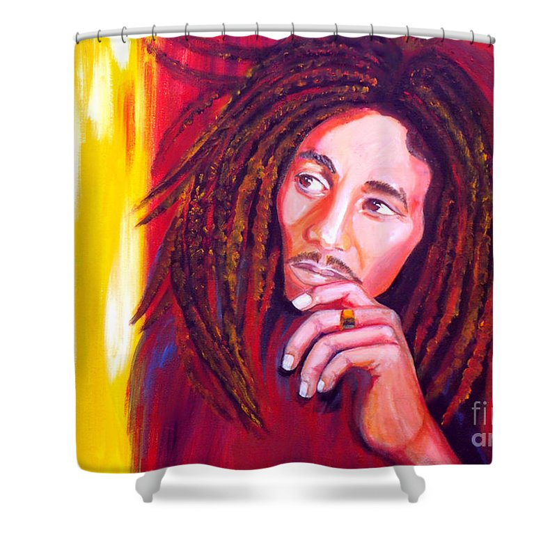 Autism Shower Curtain featuring the painting Bob Marley by To-Tam Gerwe