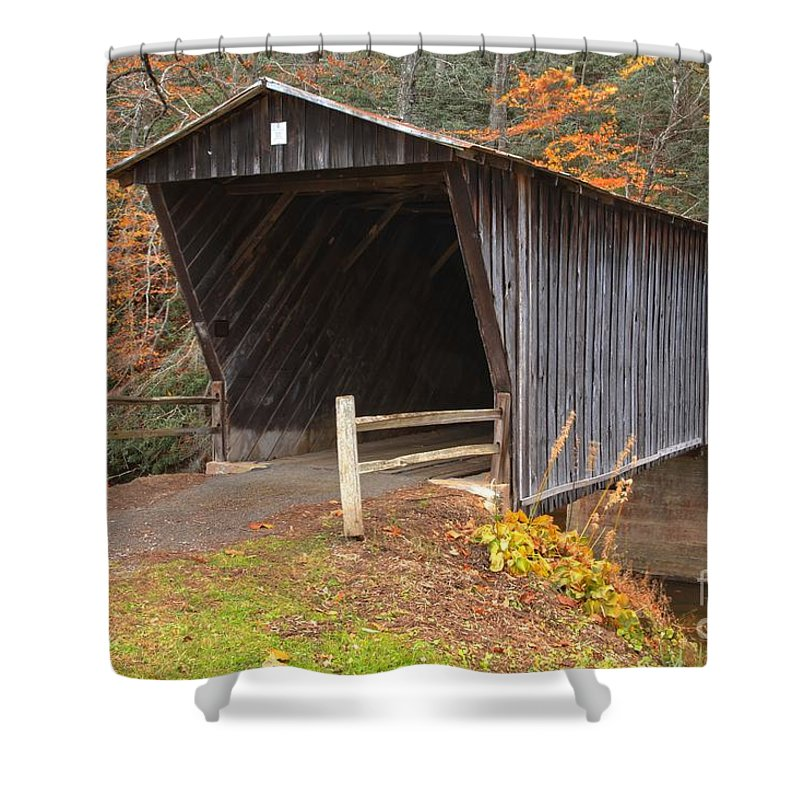 Bob White Covered Bridge Shower Curtain featuring the photograph Bob White Covered Bridge by Adam Jewell