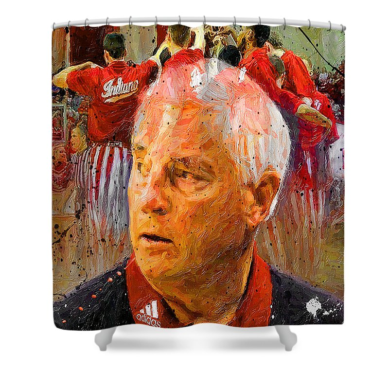 Bobby Knight Shower Curtain featuring the painting Bobby Knight Indiana Legend by John Farr