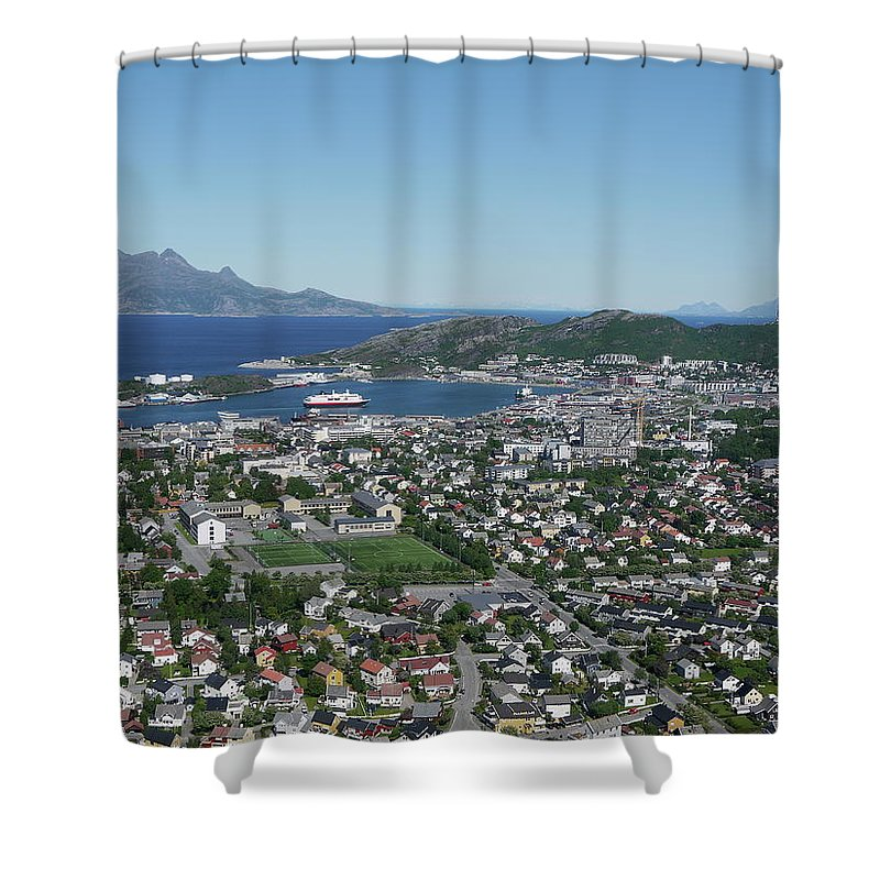 Tranquility Shower Curtain featuring the photograph Bodø Airial View, North Norway by Monica Mostue