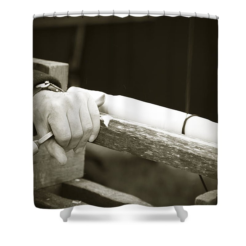 Bodger Shower Curtain featuring the photograph Bodging by Liz Leyden