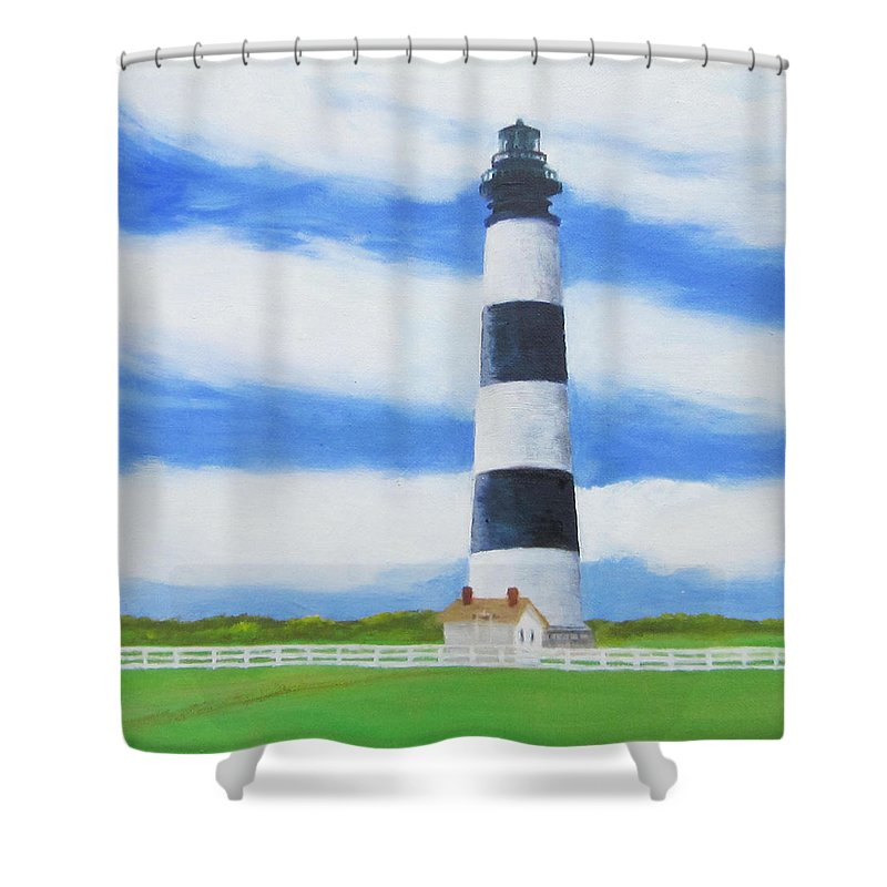 Lighthouse Shower Curtain featuring the painting Bodie Island Lighthouse by Anne Marie Brown