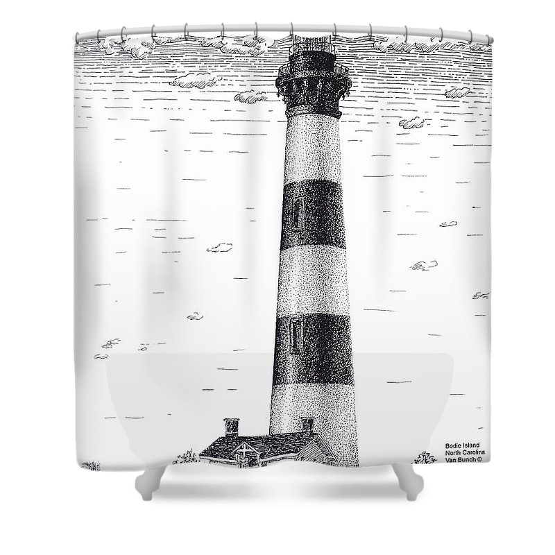 Bodie Island Lighthouse Shower Curtain Featuring The Drawing By Van Bunch