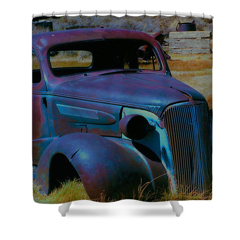 Barbara Snyder Shower Curtain featuring the digital art Bodie Plymouth by Barbara Snyder