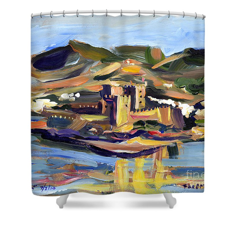 Crystal Cruises Shower Curtain featuring the painting Bodrum by Valerie Freeman
