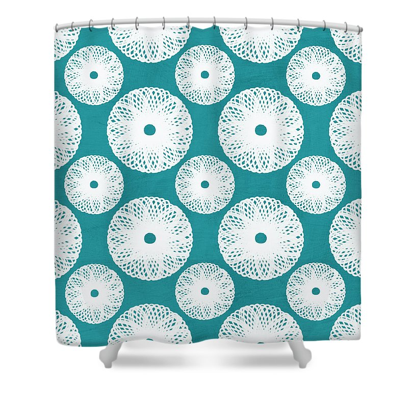 Boho Shower Curtain featuring the mixed media Boho Floral Blue and White by Linda Woods