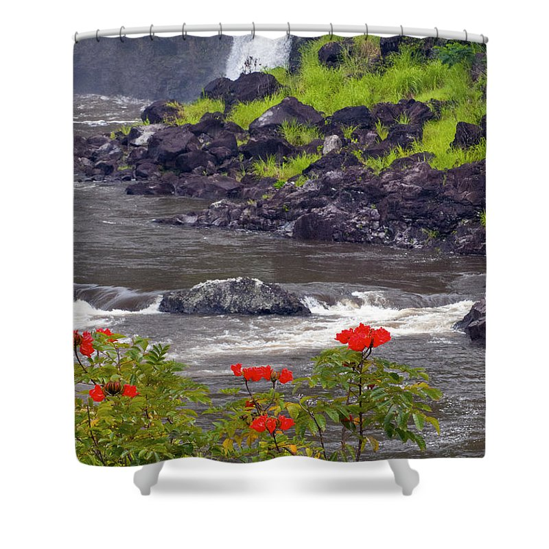 Boiling Pots State Park Big Island Hawaii Parks Wailuka River Rivers Water Falls Waterfall Waterfalls Tree Trees Plants Plants Flower Flowers Landscape Landscapes Waterscape Waterscapes Shower Curtain featuring the photograph Boiling Pots State Park by Bob Phillips