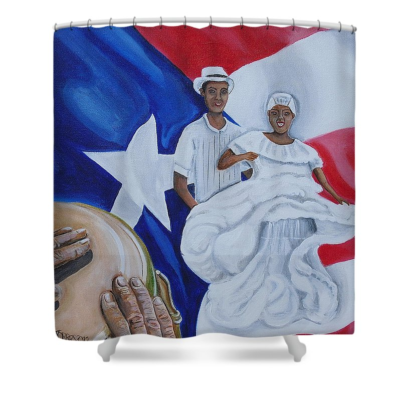 Puerto Rican Art Shower Curtain featuring the painting Bomba by Melissa Torres