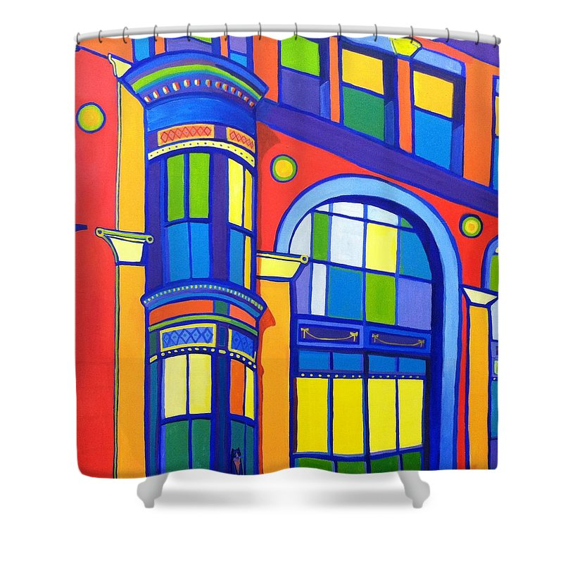 Cat Shower Curtain featuring the painting Bon Marche Cat by Debra Bretton Robinson