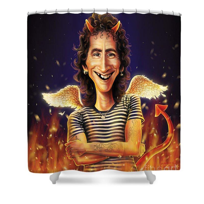 Bon Scott Shower Curtain featuring the digital art Bon Scott by Andre Koekemoer