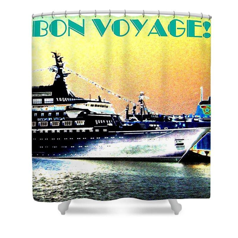 Bon Voyage Shower Curtain featuring the digital art Bon Voyage by Will Borden