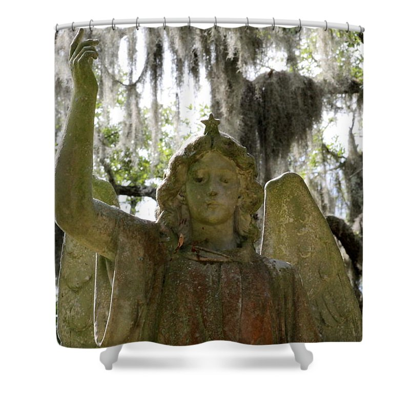 Angel Shower Curtain featuring the photograph Bonaventure Angels Series - Glory by Kay Mathews