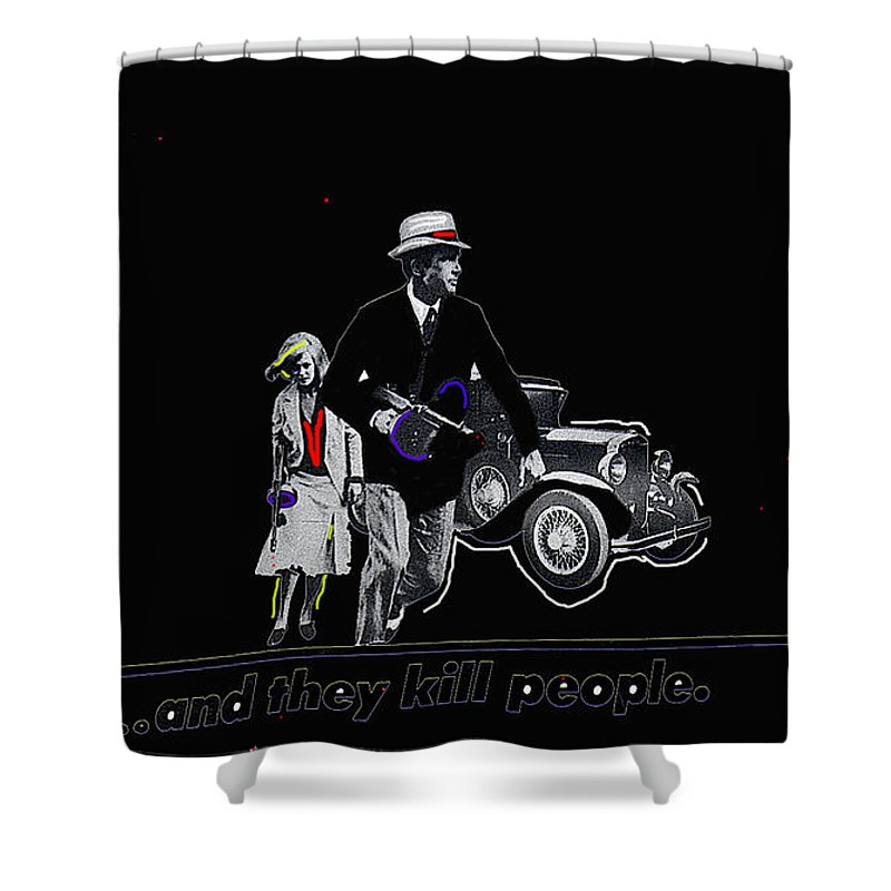 Bonnie And Clyde Poster Death Valley California Color Added Shower Curtain featuring the photograph Bonnie And Clyde Poster 1967 Death Valley California 1968-2009 by David Lee Guss