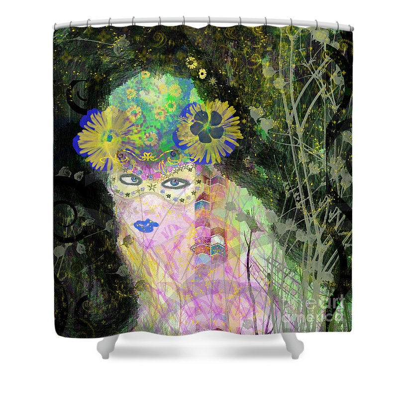 Fairy Shower Curtain featuring the mixed media Bonnie Blue by Kim Prowse