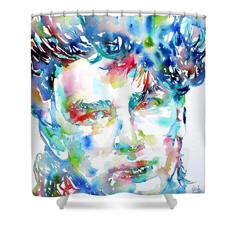 Bono Shower Curtain featuring the painting Bono Watercolor Portrait.1 by Fabrizio Cassetta