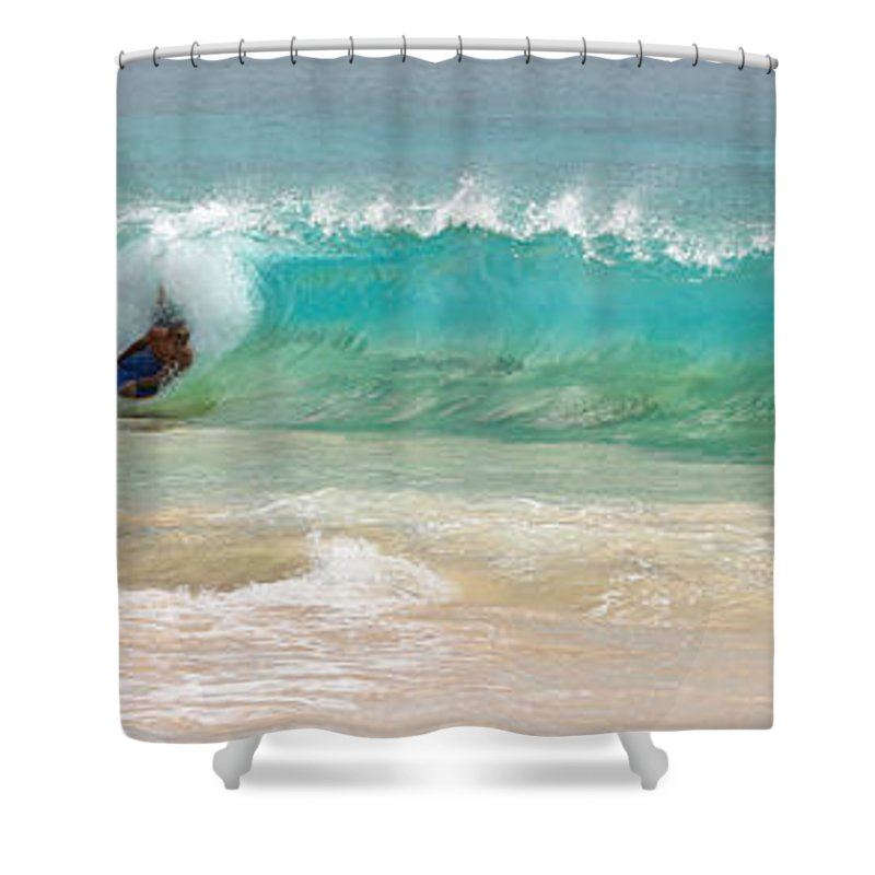 Boogie Board Shower Curtain featuring the photograph Boogie Board Surfing by Athena Mckinzie