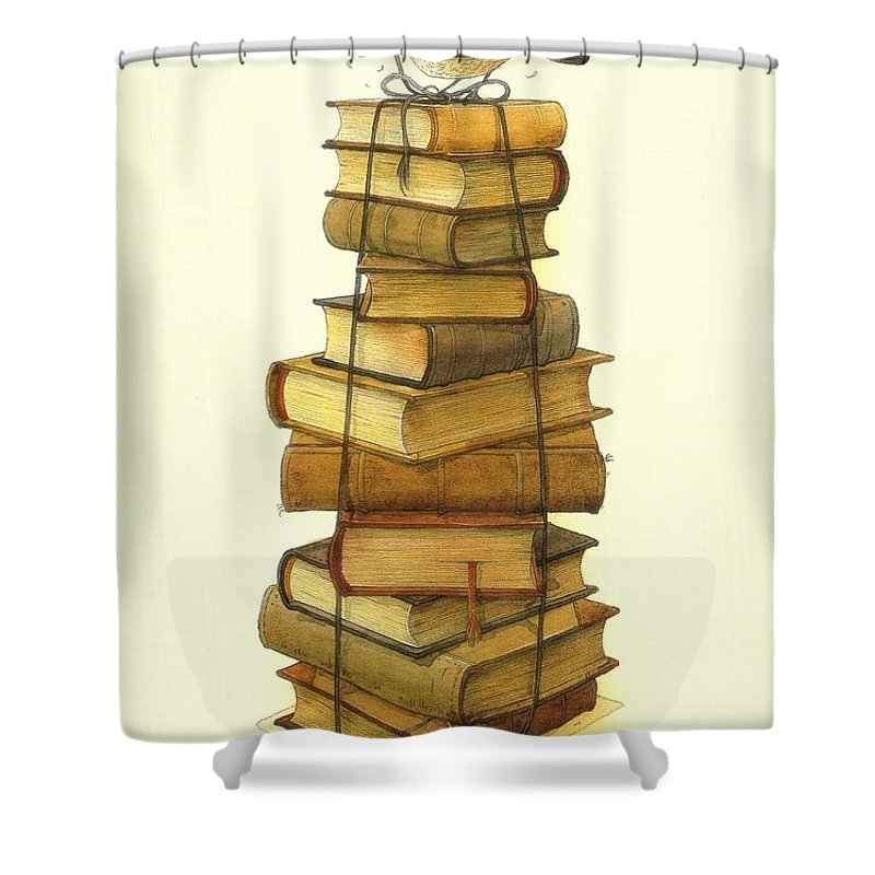 Books Greeting Cards Birds Shower Curtain featuring the painting Books And Little Bird by Kestutis Kasparavicius