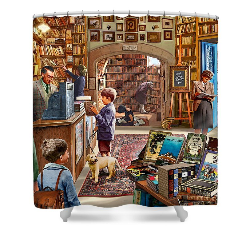 Children Shower Curtain featuring the digital art Bookshop by MGL Meiklejohn Graphics Licensing