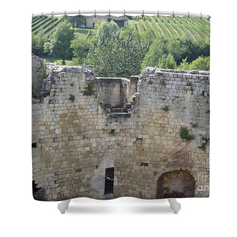 Vineyard Shower Curtain featuring the photograph Bordeaux Castle Ruins With Vineyard by HEVi FineArt
