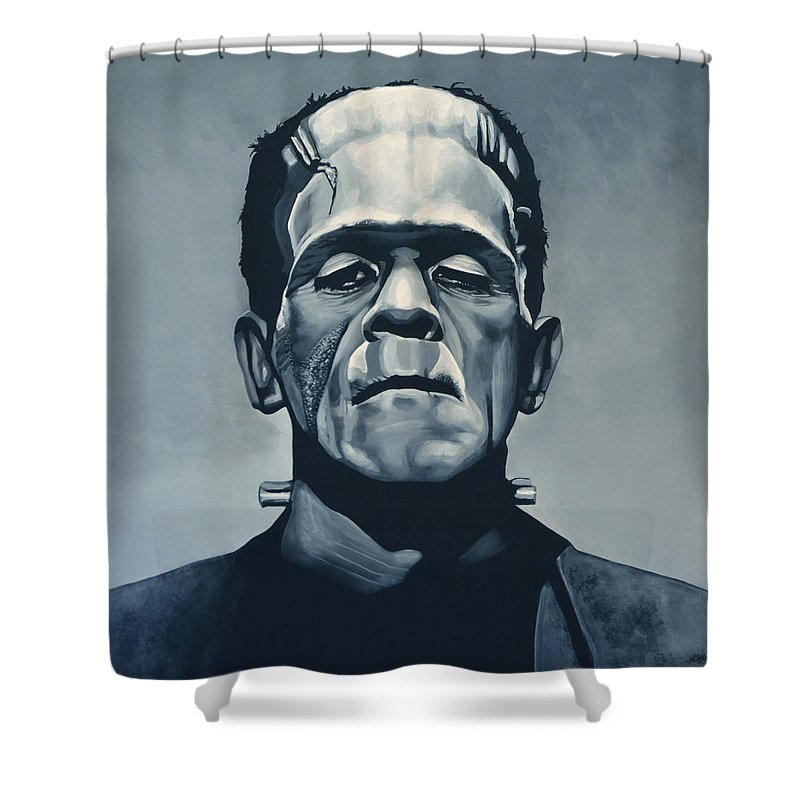 Frankenstein Shower Curtain Featuring The Painting Boris Karloff As By Paul Meijering