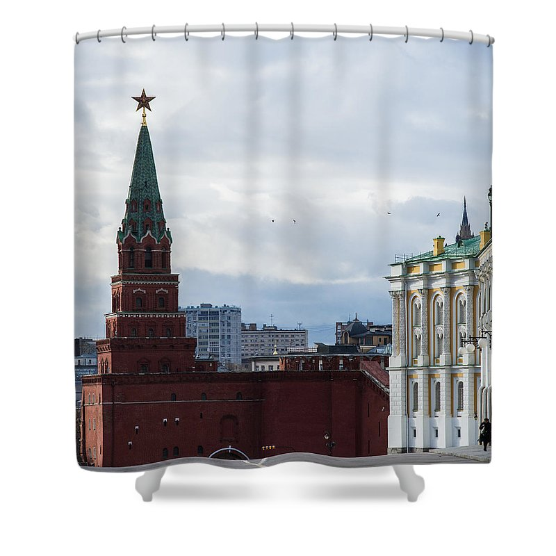 Architecture Shower Curtain featuring the photograph Borovitskaya Tower Of Moscow Kremlin - Square by Alexander Senin