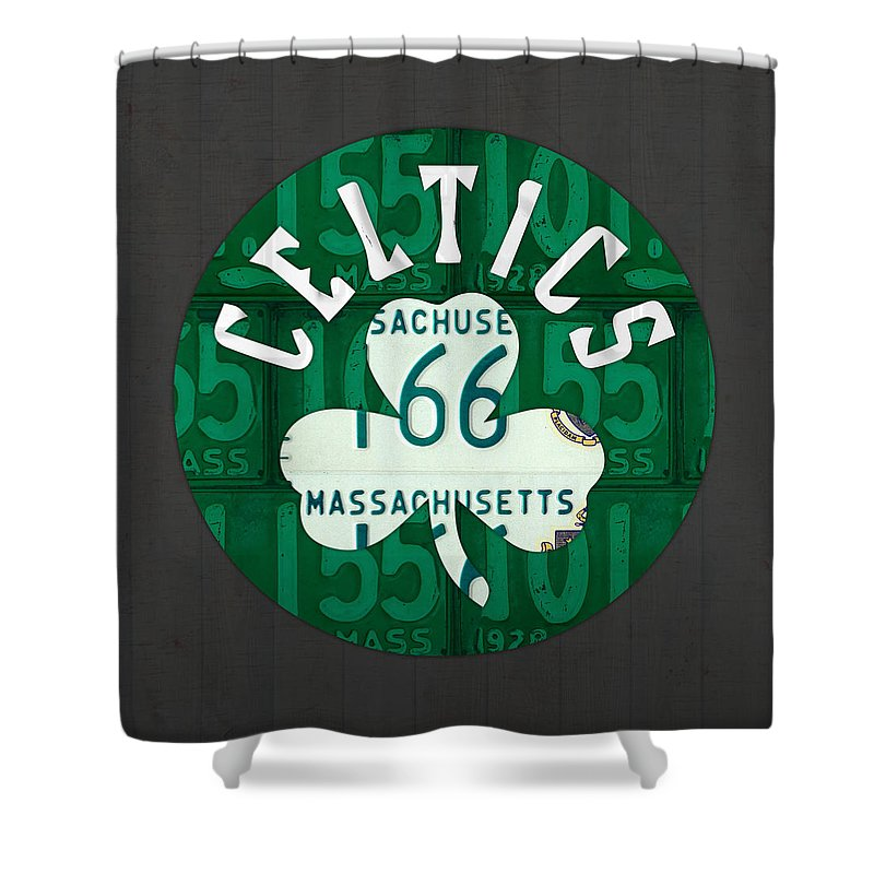 Boston Shower Curtain featuring the mixed media Boston Celtics Basketball Team Retro Logo Vintage Recycled Massachusetts License Plate Art by Design Turnpike