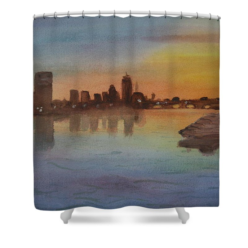 Boston Shower Curtain featuring the painting Boston Charles River At Sunset by Donna Walsh