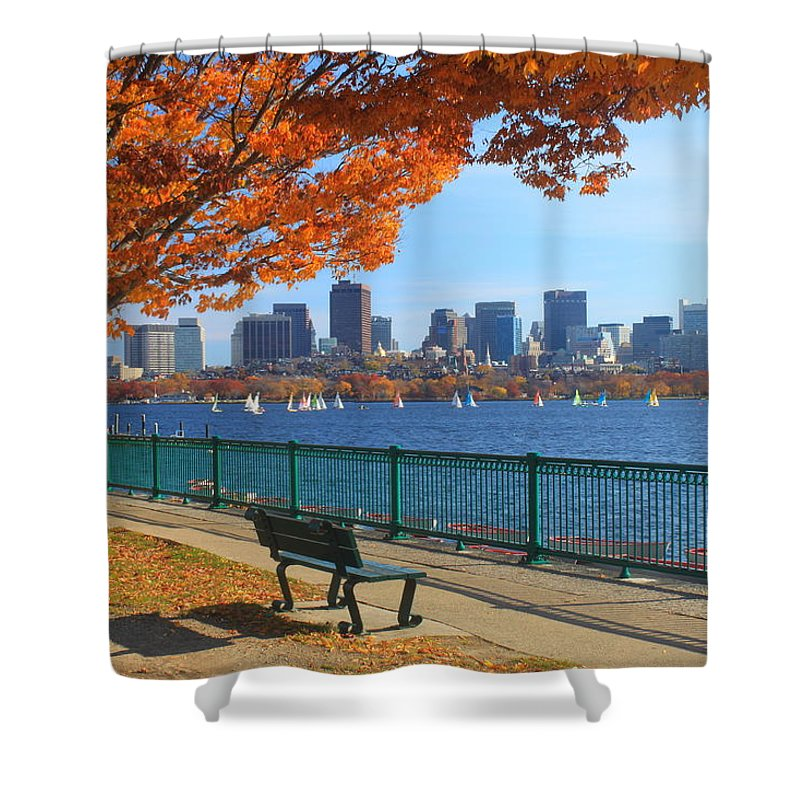 Boston Shower Curtain featuring the photograph Boston Charles River in Autumn by John Burk